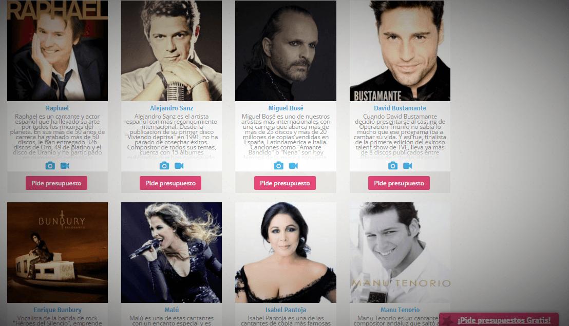 contratar cantantes famosos
